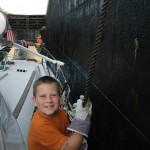 Thomas tending the lines in the locks.