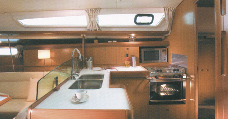 Galley in the Jeanneau 39i Performance