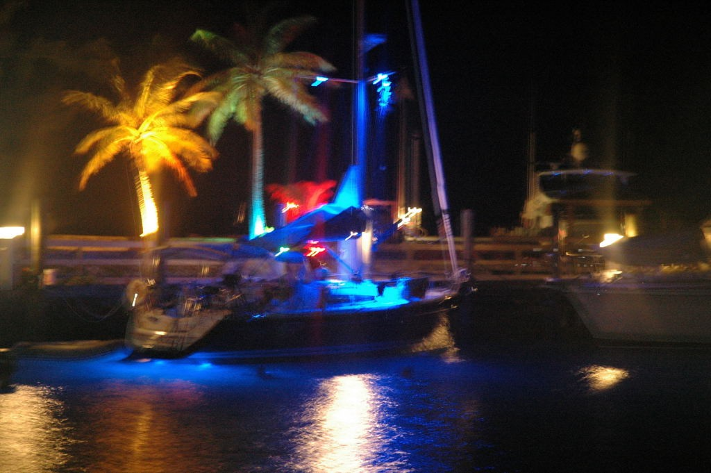 Stern Underwater lights and deck lights afloat.