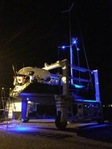 Check the stern lights underwater lights.