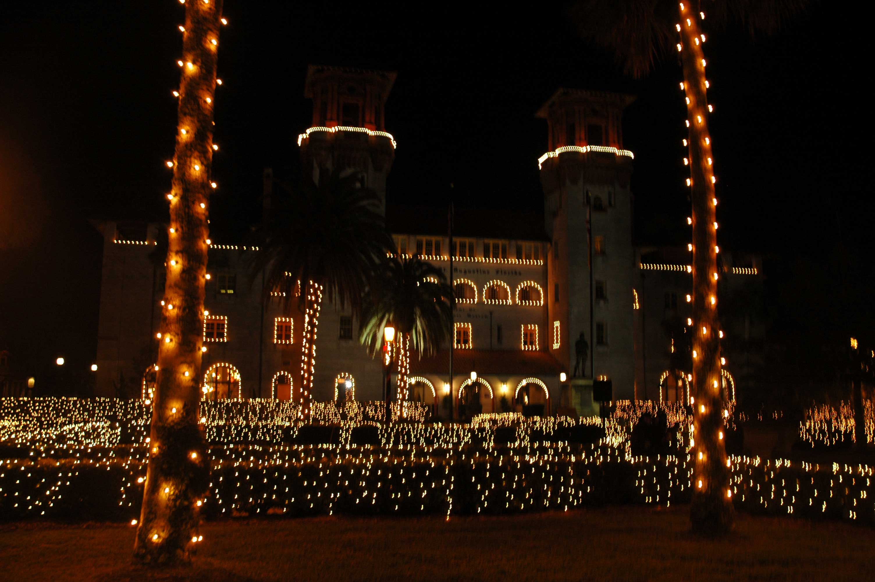 A St. Augustine fort all light up.