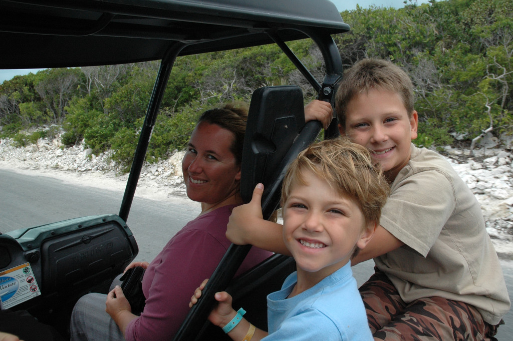 Golf carts are the normal mode of transportation in the Bahamas.