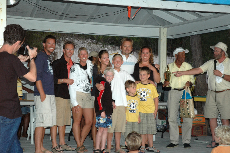 The Commodore presents us with the 2nd place trophy for the regatta.