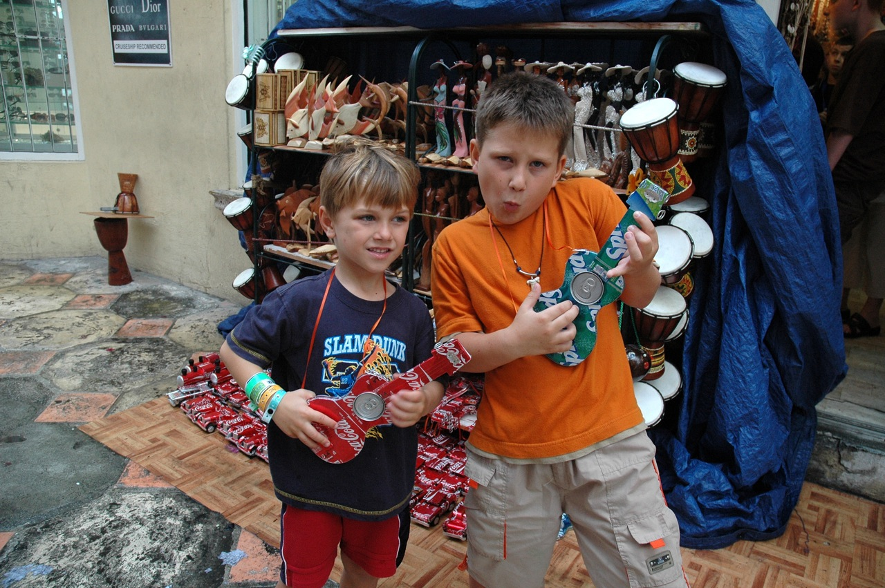 We found some cool guitars made of old pop cans.