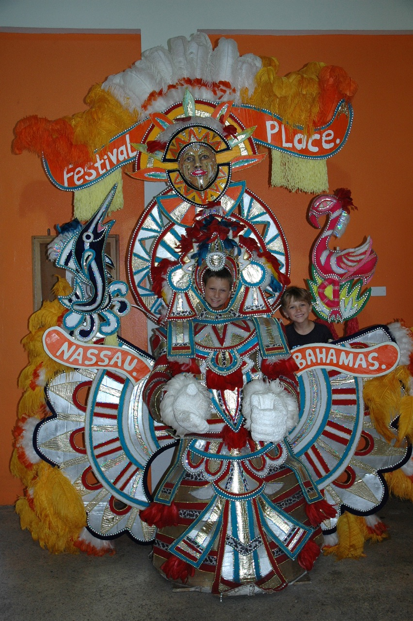 We explored Nassau and the festival Junkanoo costumes.