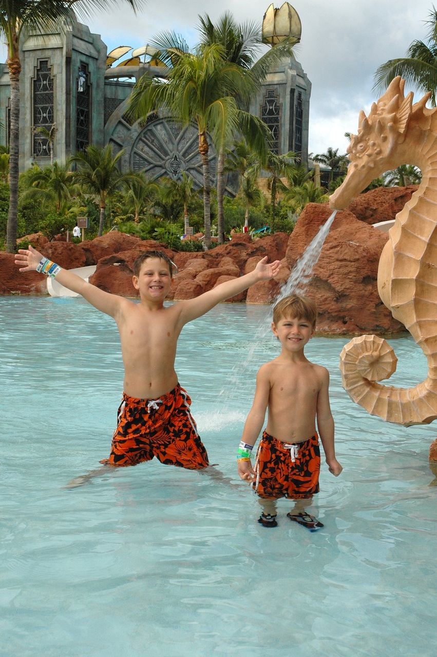 My brother and I in the water park.