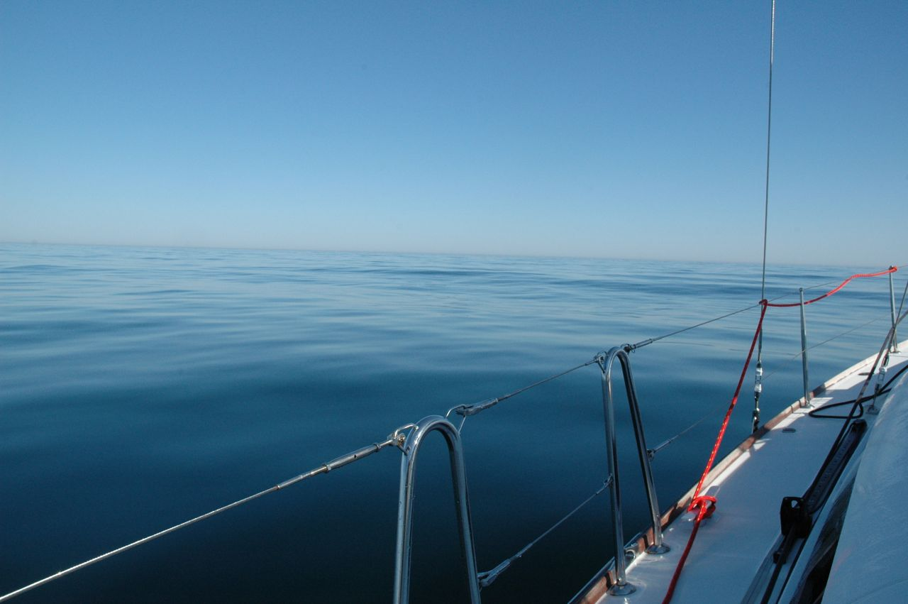 Have you ever seen the Atlantic Ocean so calm? Not what you want when you are sailing.