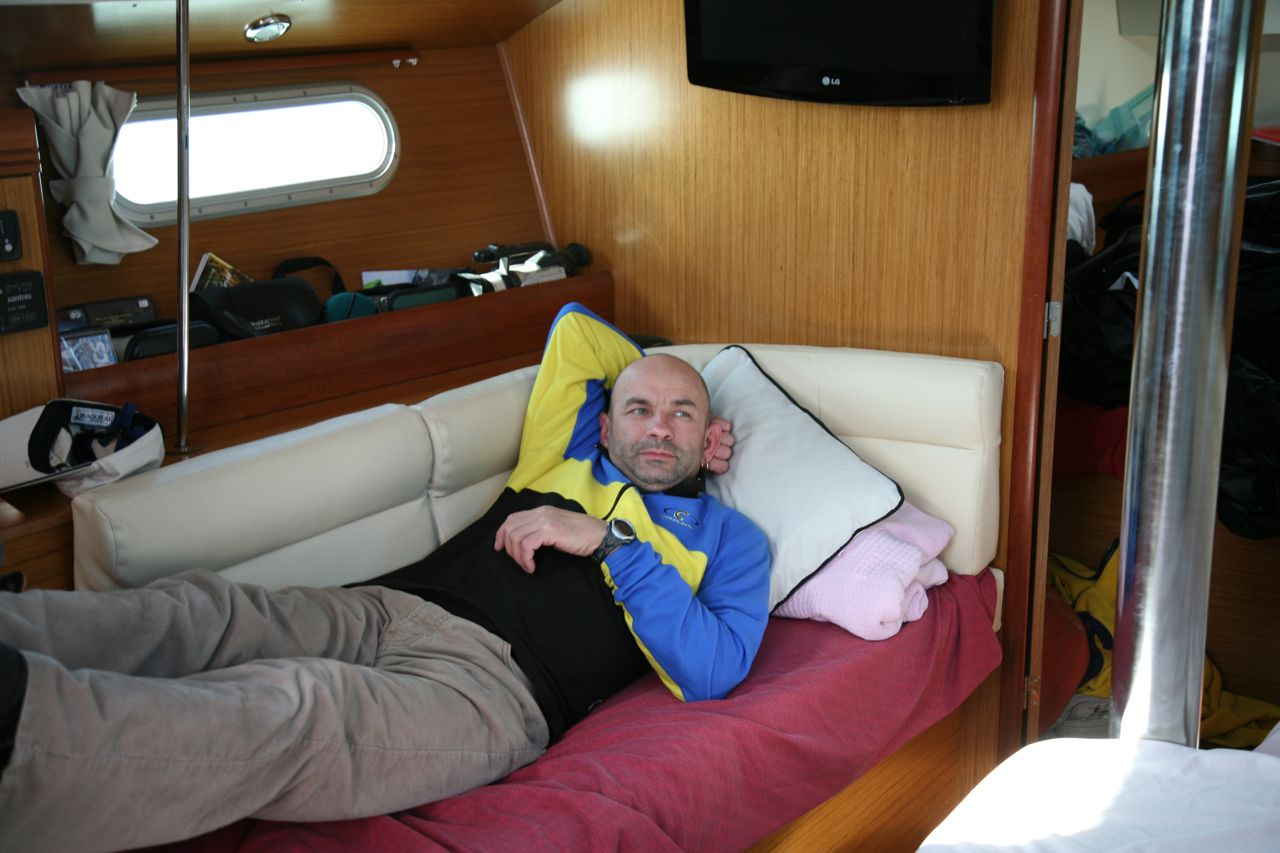 Cez's relaxing in his usual bunk on the port side.
