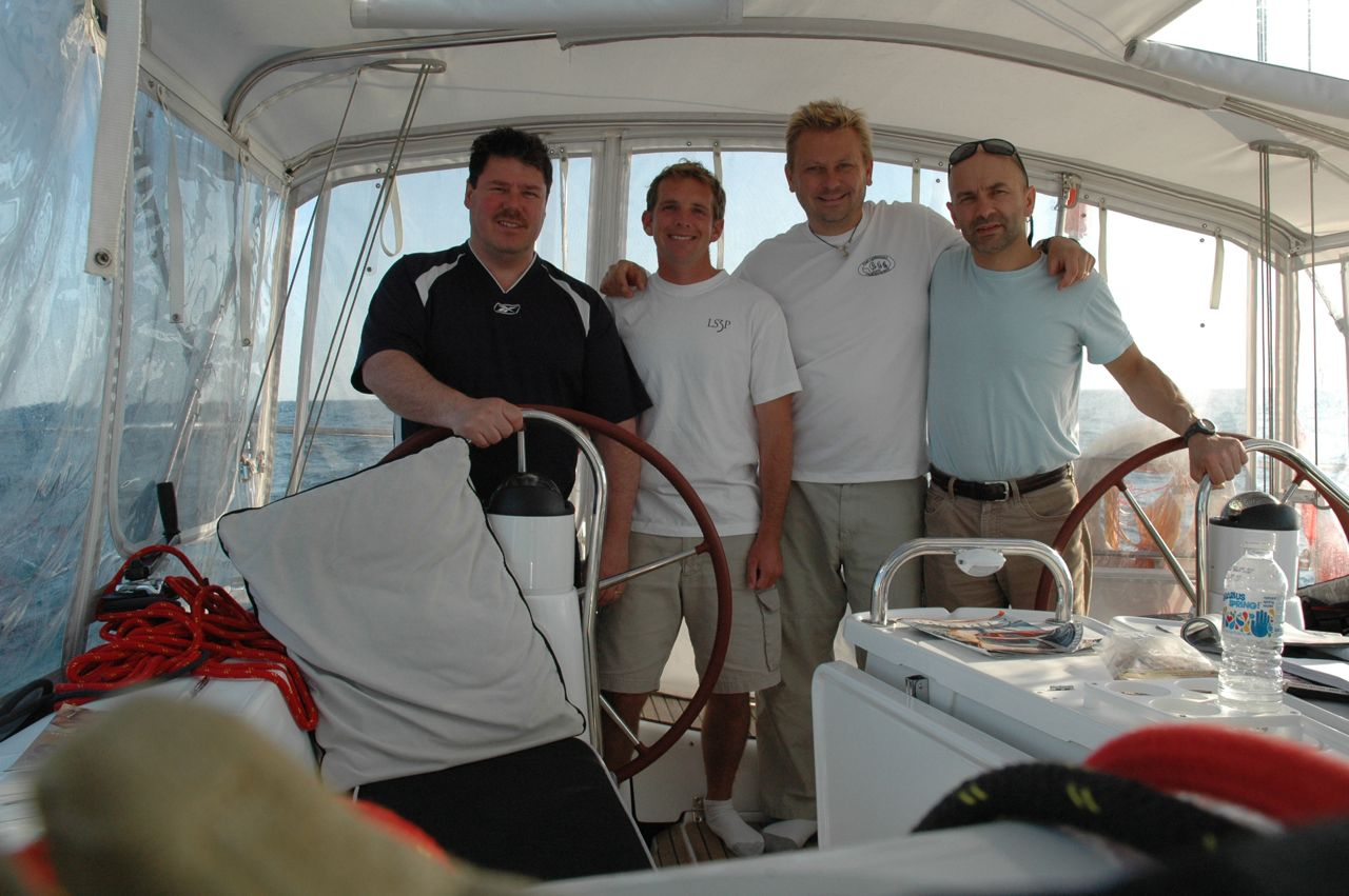 Our crew for the Charleston to New York City offshore passage. Craig, Chris, Ed and Cez!