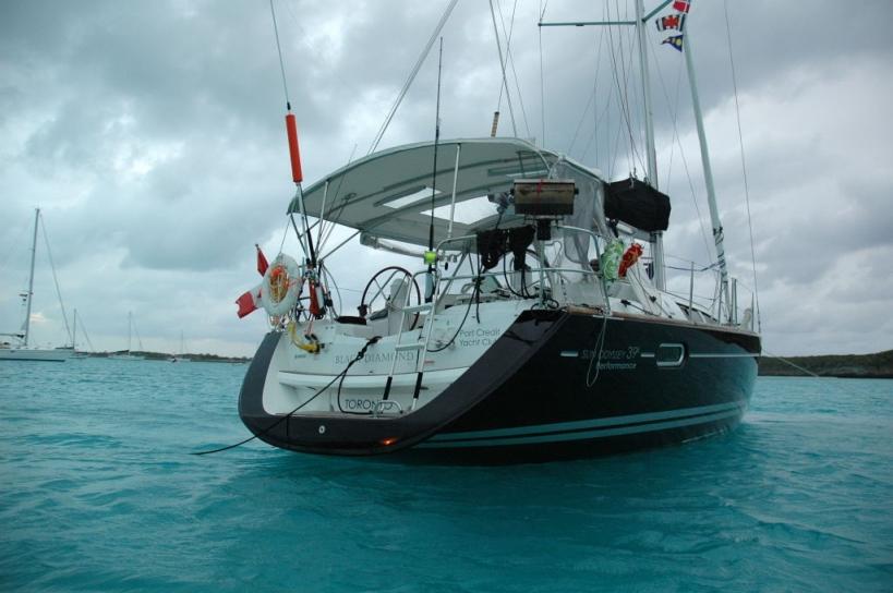 At anchor in the Exumas, Bahamas near Big Major Spot.
