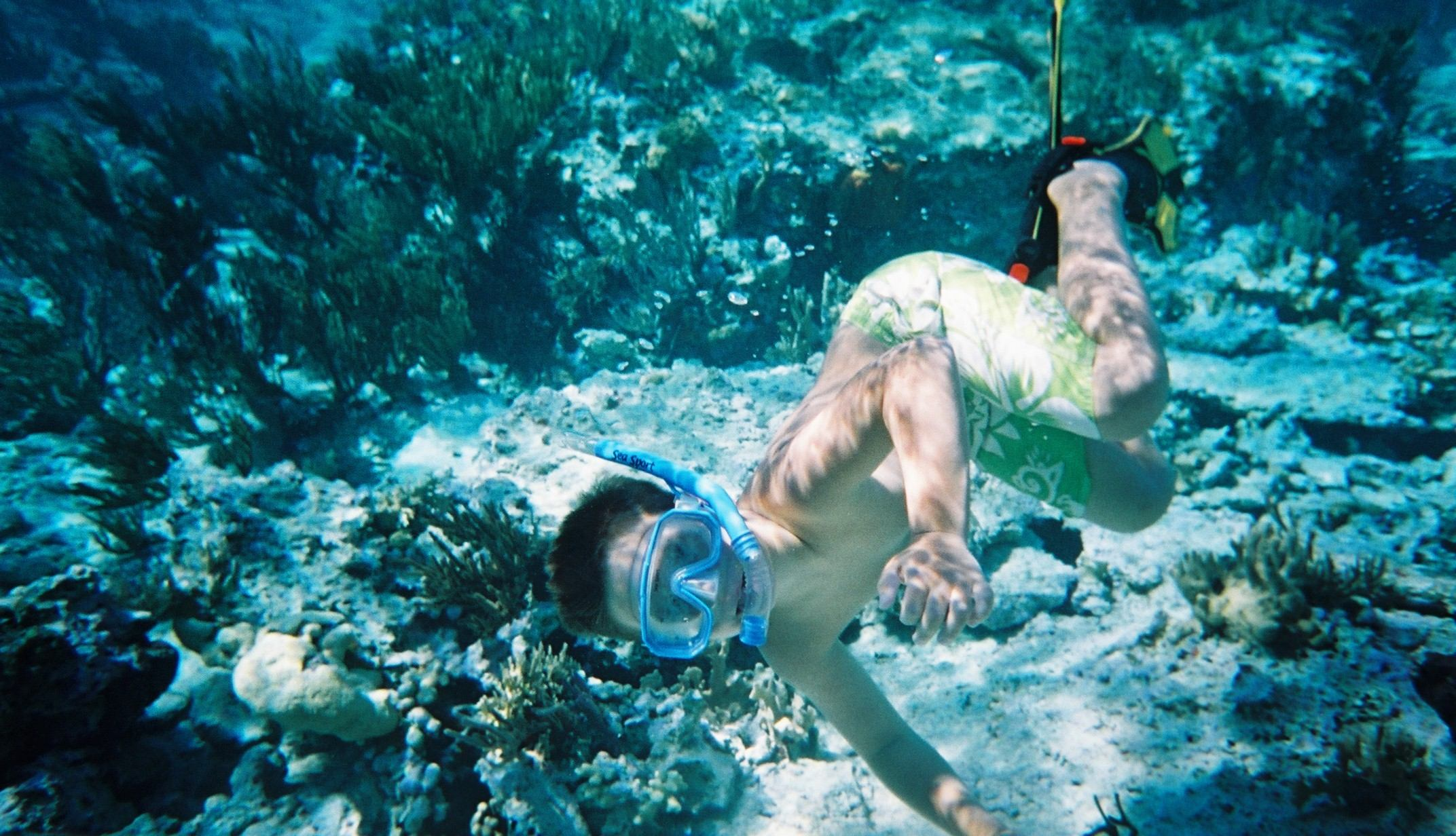 Thomas really enjoyed snorkelling Cave Cay.