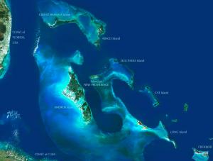 Satellite Image of The Exumas Bahamas