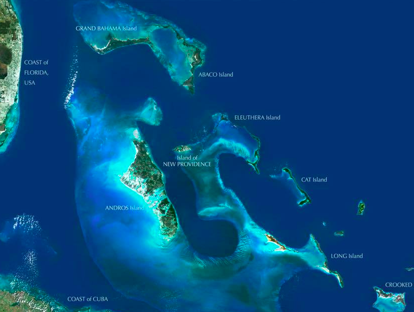 Satellite Image of The Exumas Bahamas