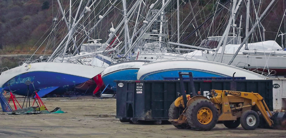 Hauled boats toppled by hurricane