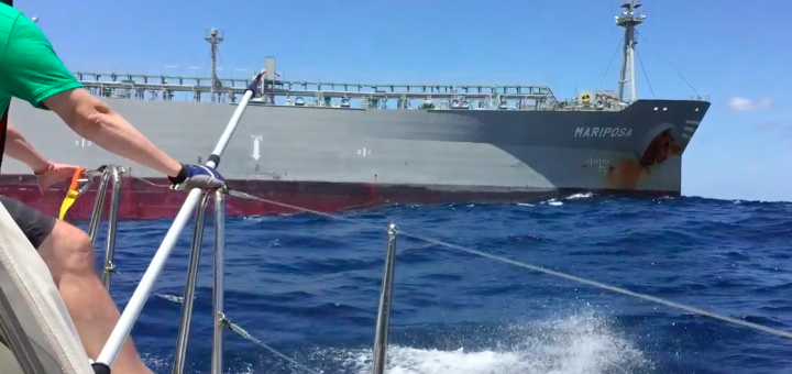 Sailboat Refuelled by Mariposa Oil Tanker